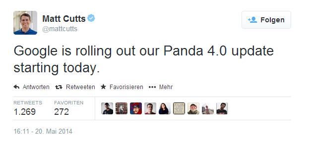 Screenshot: Matt Cutts gibt Panda 4.0 bekannt