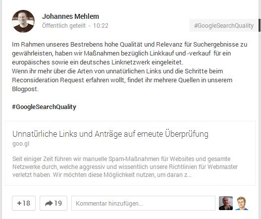 Johannes Mehlem (Google): Bekanntmachung