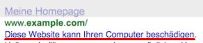 Screenshot: Markierung - laut Google - unsicherer Websites