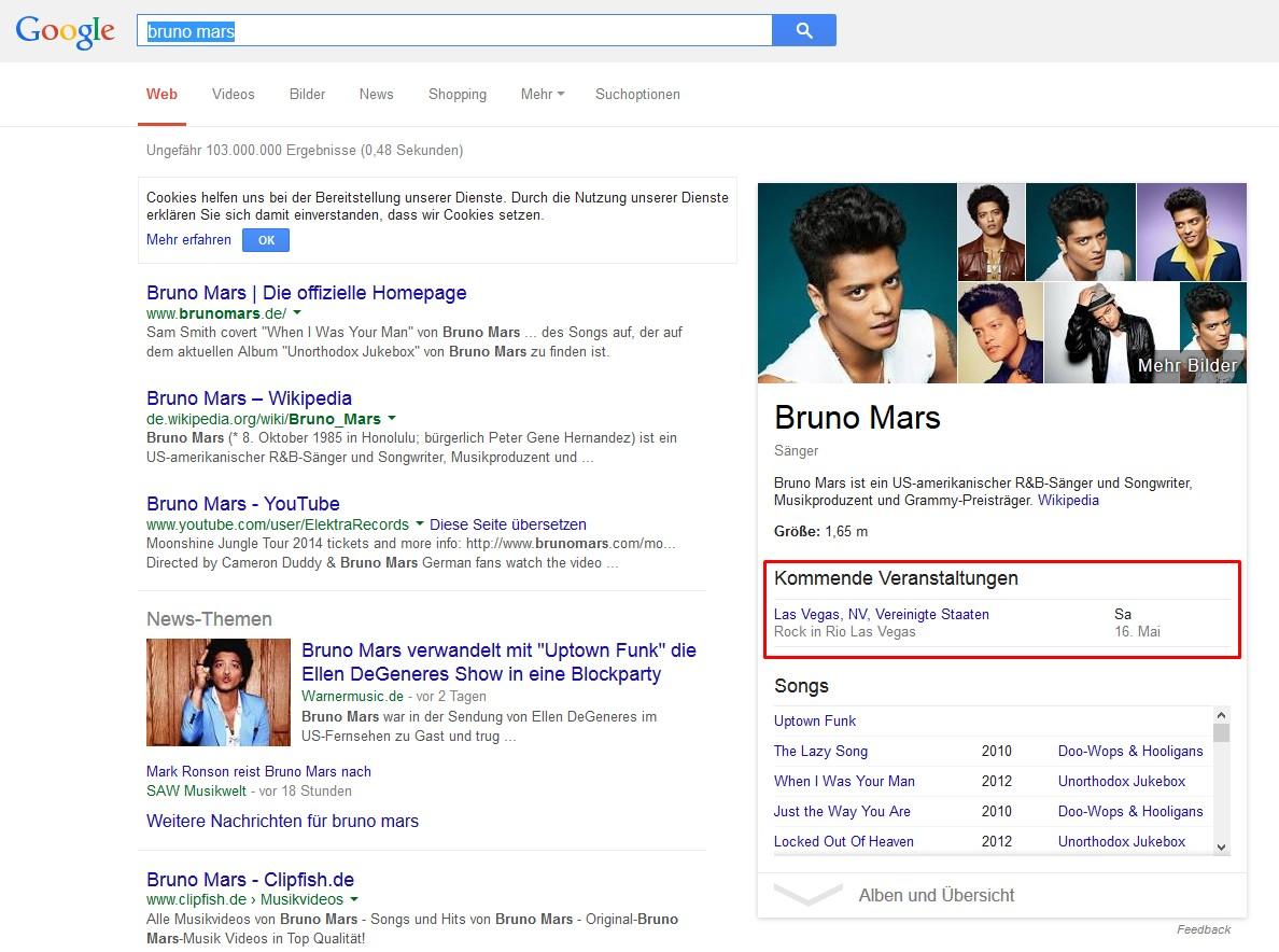 Knowledge Graph: Bruno Mars