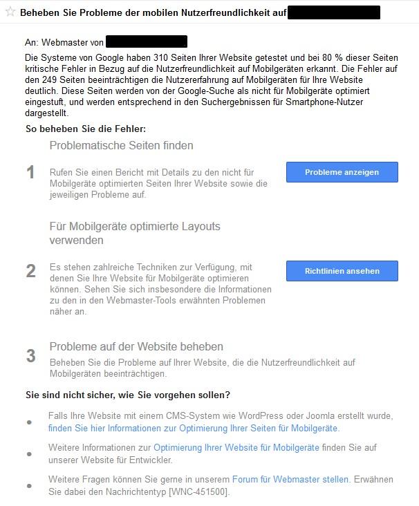 Google Webmaster-Tools: Hinweis an Webmaster bezüglich der mobilen Nutzerfreundlichkeit
