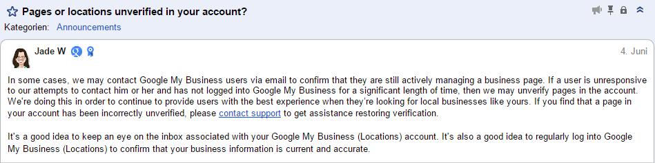 Jade W (Google) zur Entziehung der Verifizierung von Google My Business Account