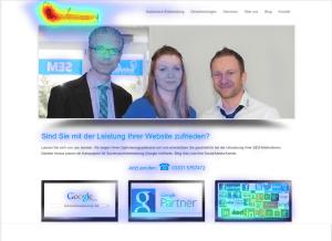 Eye-Tracking Bild der alten Website von imwebsein aus dem Jahre 2012