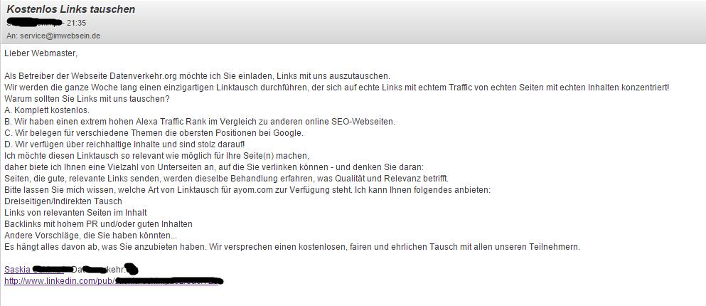 Linktausch Email