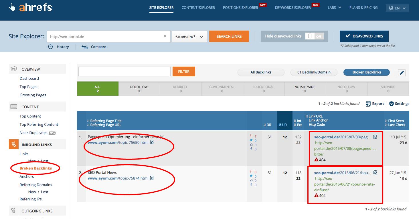 Broken Backlinks http seo portal.de on Ahrefs