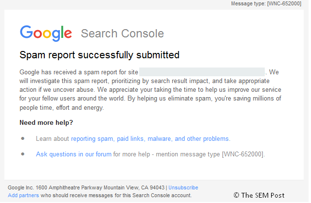 spam report