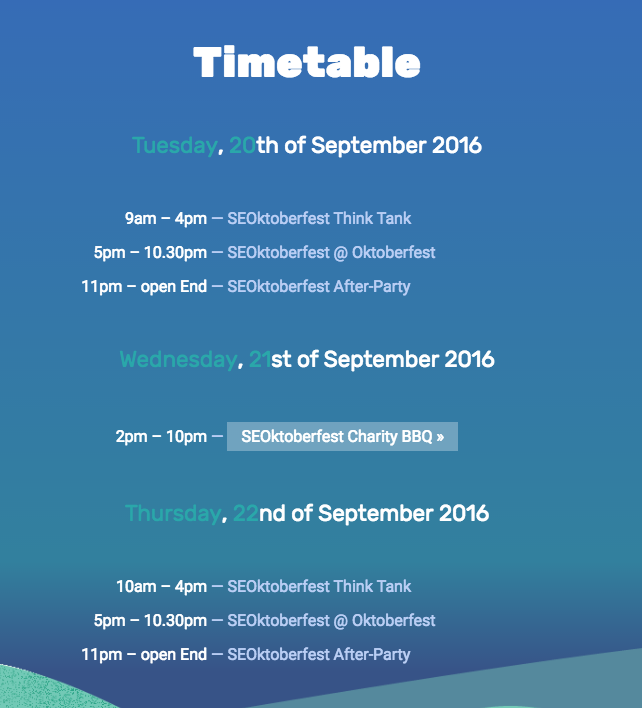 Timetable of SEOktoberfest 2016