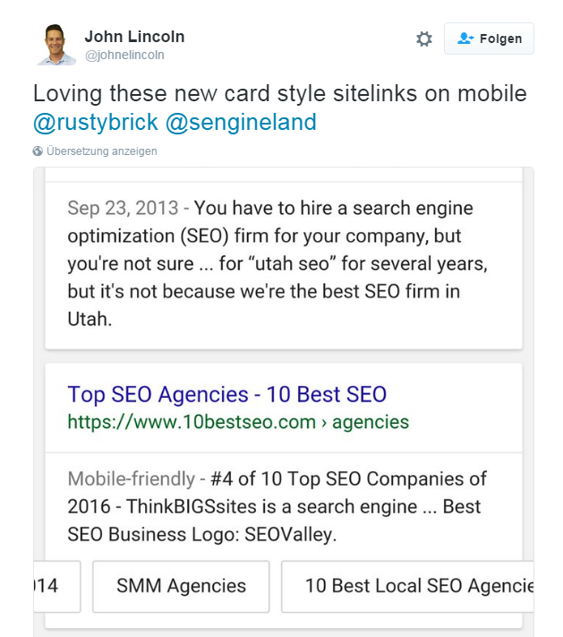 SERPs Sitelinks in Cards