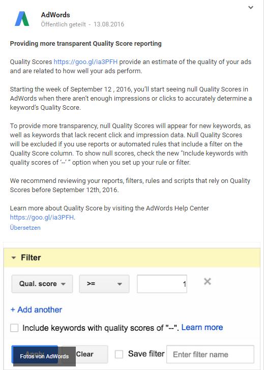AdWords Qualitätsfaktor