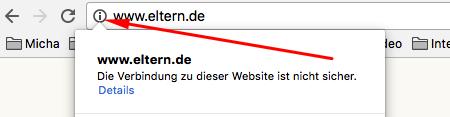 Chrome warnt vor unsicheren Webseiten
