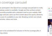 Search Live Coverage Carousel