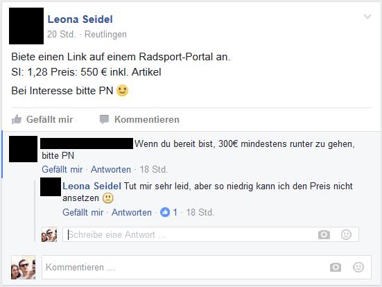 Facebookpost und Antwort auf die Frage nach dem Preis