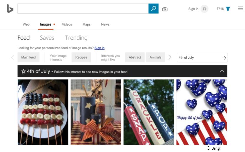 Personalisierte Feeds Bing